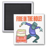 Feuer in den Loch-80. Geburtstags-Geschenken Kühlschrankmagnet
