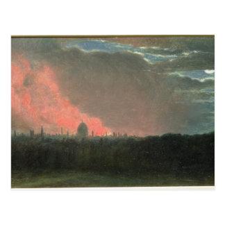 Feuer in London gesehen von Hampstead (Öl auf Papi Postkarte