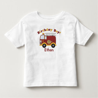 Feuer-LKW-Geburtstag scherzt personalisiertes Kleinkinder T-shirt