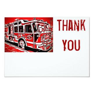 Feuer-LKW-Motor-Feuerwehrmann-Ebene danken Ihnen Karte