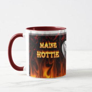 Feuer Maines Hottie und rotes Marmorherz Tasse