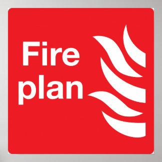 Feuer-Plan-Zeichen-Plakat Poster