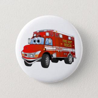 Feuer-Rettungs-Cartoon Runder Button 5,7 Cm