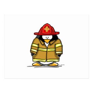 Feuer-Rettungs-Pinguin Postkarte