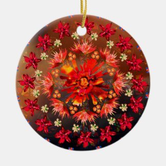 Feuer-Rosen-Herz Keramik Ornament
