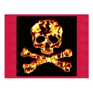 Feuer-Totenkopf mit gekreuzter Knochen Postkarte