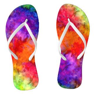 [Feuer und Eis] helle mutige Regenbogen-gefärbte Flip Flops