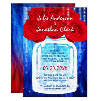 Feuer-und Eis-Hochzeits-Einladungen | rot und blau Karte