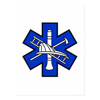 Feuer und EMS-Logo Postkarte