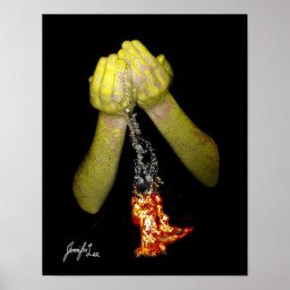 Feuer-Wasser gemalte Waffen Poster
