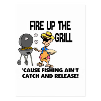 Feuern Sie oben den Grill ab Postkarte