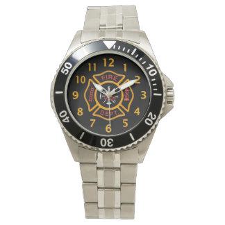 Feuerwehr-Abzeichen-Schwarzes Uhr
