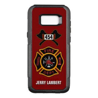 Feuerwehr-Feuerwehrmann-Emblem-Namen-Schablone OtterBox Commuter Samsung Galaxy S8+ Hülle
