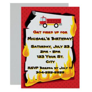 Feuerwehr-Geburtstags-Party 12,7 X 17,8 Cm Einladungskarte