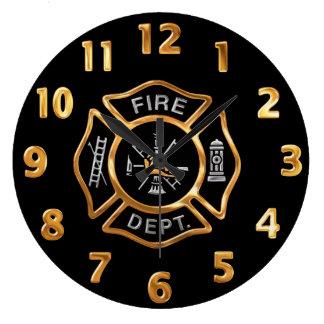 Feuerwehr-GoldAbzeichen Große Wanduhr