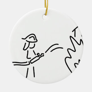 feuerwehrmann berufsfeuerwehr feuerwehrfrau rundes keramik ornament