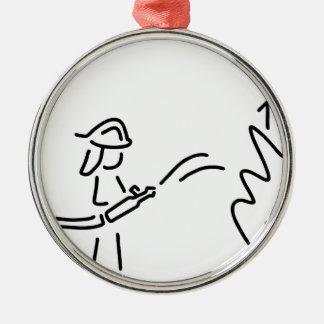 feuerwehrmann berufsfeuerwehr feuerwehrfrau rundes silberfarbenes ornament