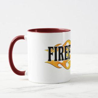 Feuerwehrmann-doppelte Flammen Tasse