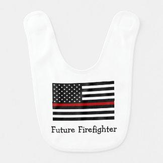 Feuerwehrmann-dünne rote Linie Baby-Schellfisch Lätzchen