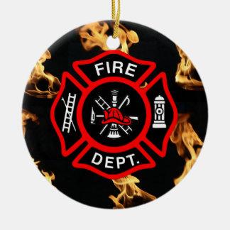 Feuerwehrmann-Feuer-Abteilung des Rundes Keramik Ornament