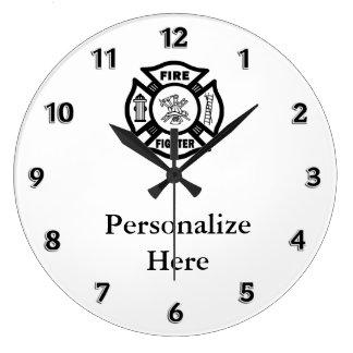 Feuerwehrmann-Feuer-Abteilungs-Symbol Große Wanduhr
