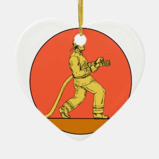 Feuerwehrmann-Feuerwehrmann, der Keramik Herz-Ornament