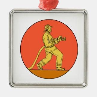 Feuerwehrmann-Feuerwehrmann, der Quadratisches Silberfarbenes Ornament