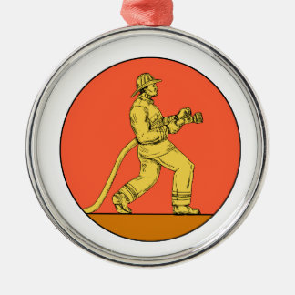 Feuerwehrmann-Feuerwehrmann, der Rundes Silberfarbenes Ornament