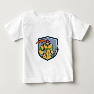Feuerwehrmann-Feuerwehrmann-Feuer-Axt-Haken-Wappen Baby T-shirt
