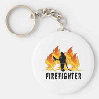 Feuerwehrmann-Flammen Schlüsselanhänger