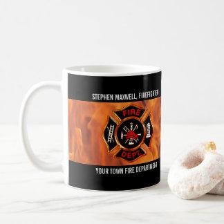 Feuerwehrmann flammt Emblem-Namen und Abteilung Kaffeetasse