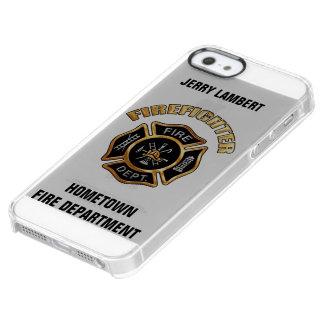Feuerwehrmann-Goldnamen-Schablone Durchsichtige iPhone SE/5/5s Hülle