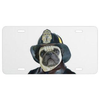 Feuerwehrmann-Mopshundelizenzplatte US Nummernschild