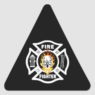 Feuerwehrmann-Party-Zeit Dreieckiger Aufkleber