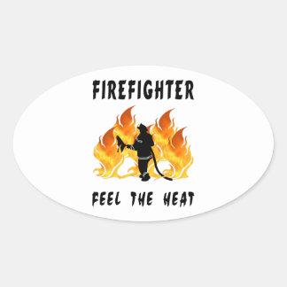 Feuerwehrmann-Party-Zeit Ovaler Aufkleber