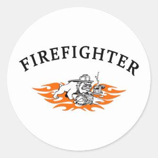 Feuerwehrmann-Party-Zeit Runder Aufkleber