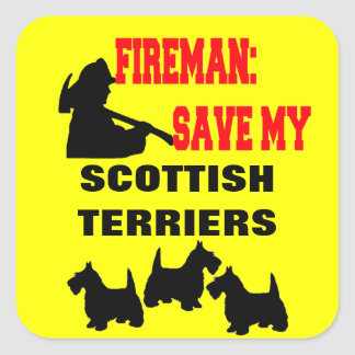 Feuerwehrmann retten meine drei schottischen quadratischer aufkleber
