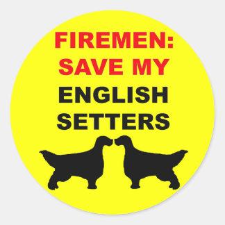 Feuerwehrmann retten meine englischen Setzer Runder Aufkleber