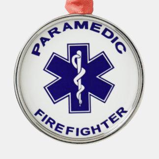 Feuerwehrmann-Sanitäter Rundes Silberfarbenes Ornament
