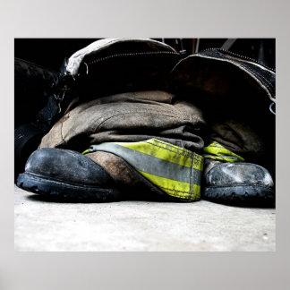 Feuerwehrmann-Stiefel Plakatdruck