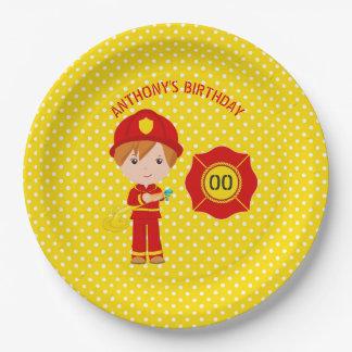Feuerwehrmann-themed Geburtstags-Party Pappteller