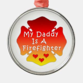 Feuerwehrmann-Vati Silbernes Ornament