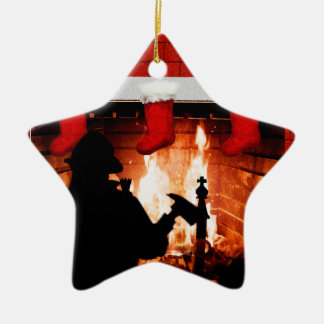 Feuerwehrmann-Weihnachten Keramik Stern-Ornament