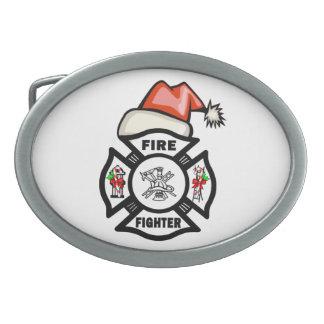 Feuerwehrmann Weihnachtsmann Ovale Gürtelschnallen