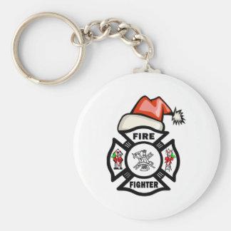 Feuerwehrmann Weihnachtsmann Schlüsselanhänger