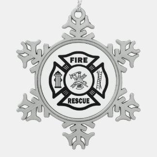 Feuerwehrmann-Weihnachtsverzierungen Schneeflocken Zinn-Ornament