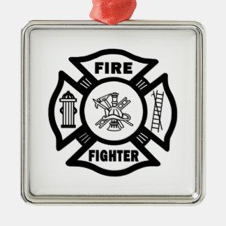 Feuerwehrmann-Weihnachtsverzierungen Silbernes Ornament