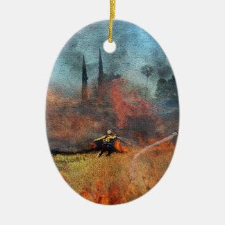 Feuerwehrmänner sind unsere wahren Helder Ovales Keramik Ornament
