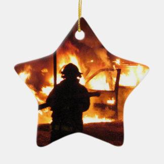FeuerwehrmannHandline Keramik Stern-Ornament