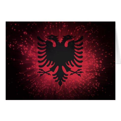 Feuerwerk; Albanien-Flagge Karte